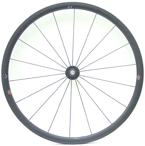 Handcycle FLY threaded axel style rear 18 spoke wheel side view